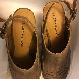 Lucky Brand   tan block heel booties with buckle